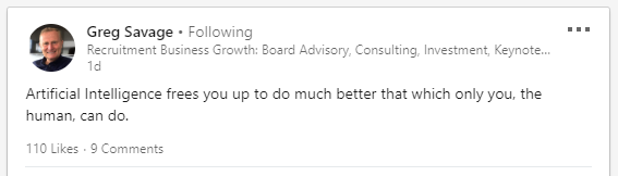 Greg Savage LinkedIn Technical Recruitment Solutions